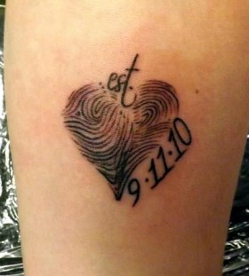 Heart and date husband and wife tattoo