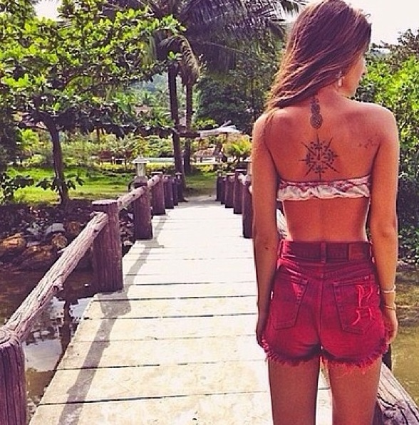 Hipster Style Back Tattoo