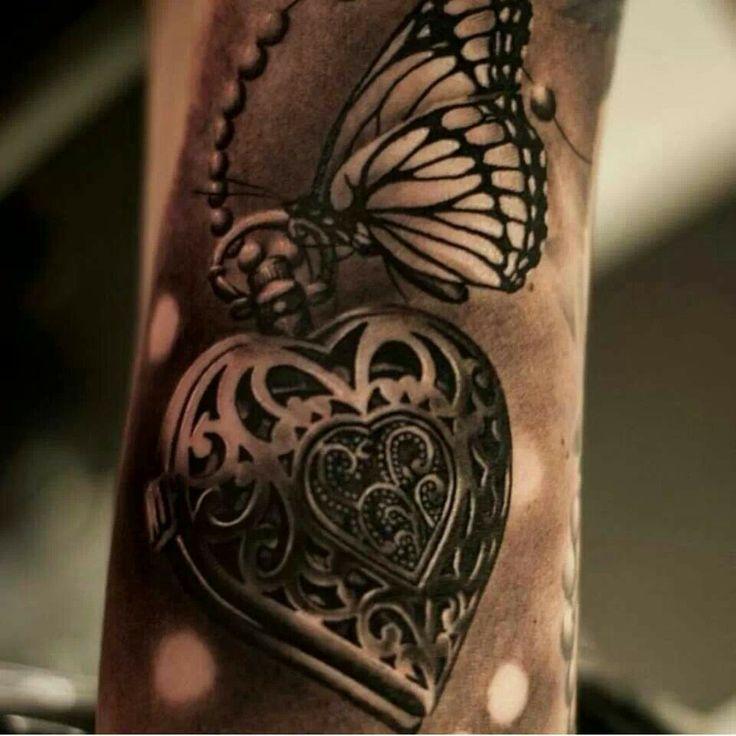 Locket And Butterfly Arm Tattoo Tattoomagz