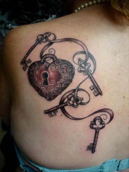 locket and keys back tattoo. Black Bedroom Furniture Sets. Home Design Ideas