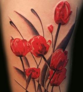 Nice poppy flower tattoo