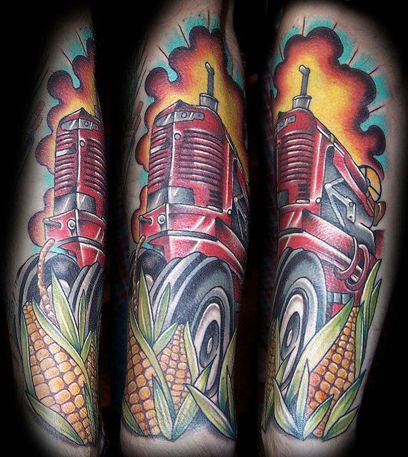 International Tractor Tattoo Designs : Tractor in corn field tattoo