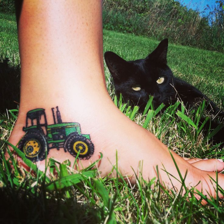 Tractor Tattoo On Foot
