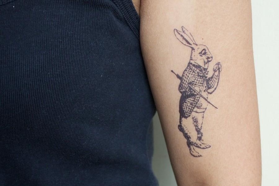White Rabbit Tattoo White Rabbit Arm Tattoo