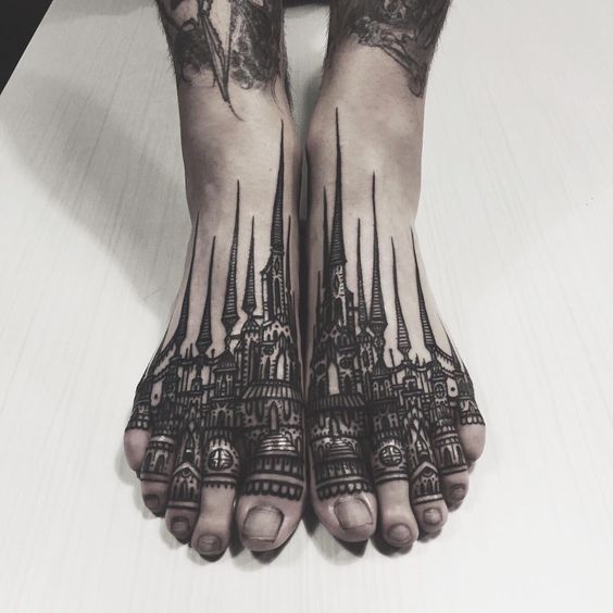 Thieves of Tower feet tattoos for women