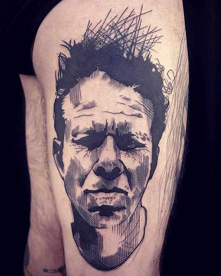 tom waits sketch style portrait tattoo by lea nahon