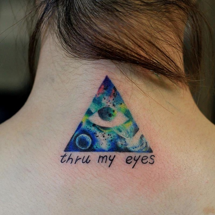 Triangle Eye And Quote Tattoo