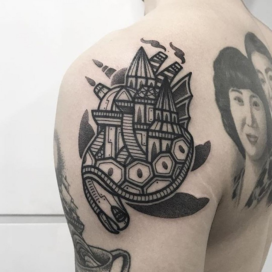 turtle tattoo by hugotattooer
