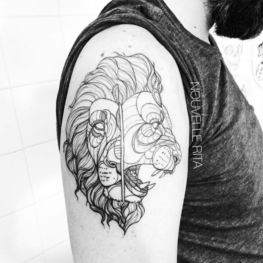two faced lion tattoo by nouvelle rita