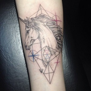 Unicorn and geometric shapes tattoo by Emrah Özhan