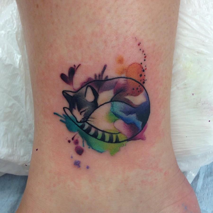 45 cat tattoos for true cat lovers tattoomagz for Watercolor cat tattoo