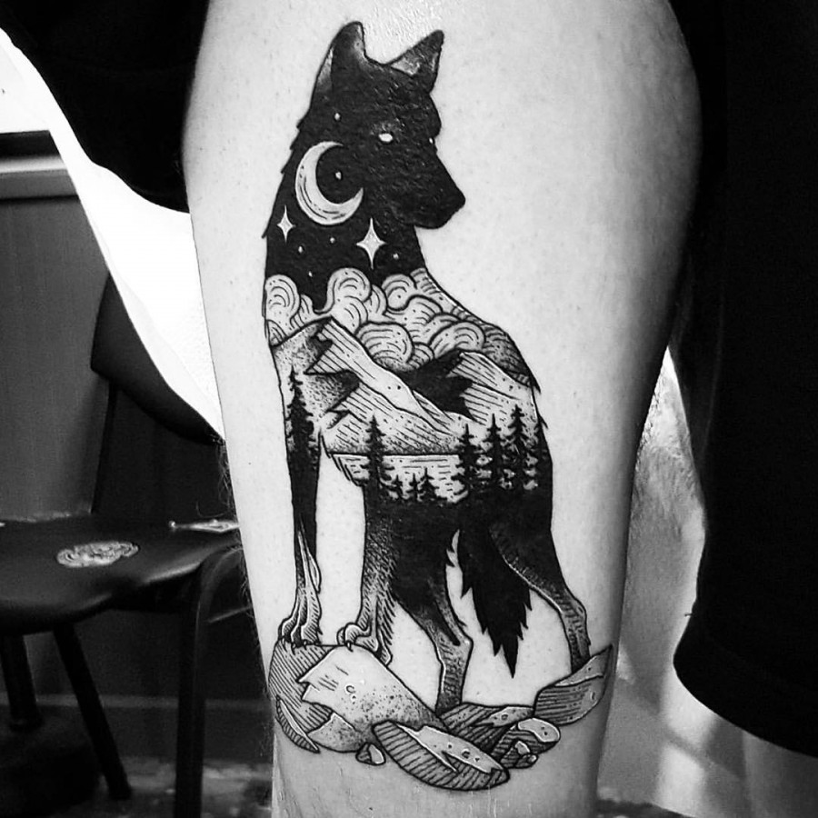 wolf tattoo by cutty bage