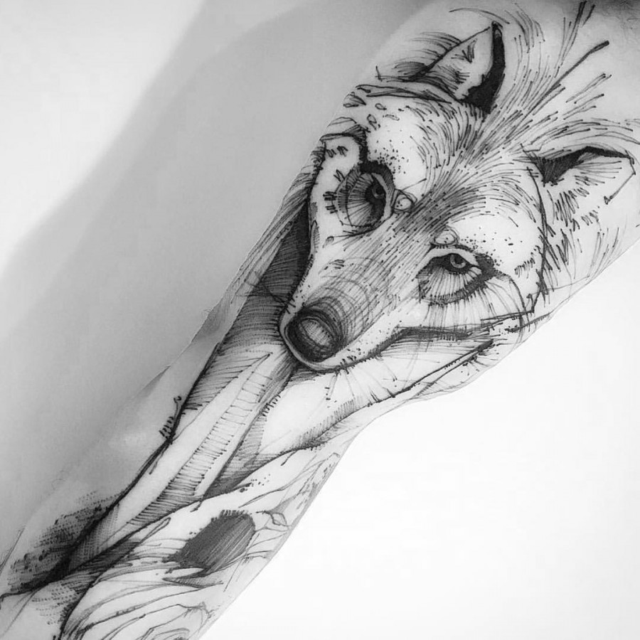 wolf tattoo by victor montaghini