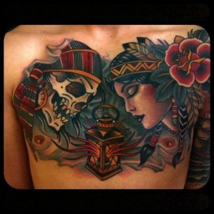 Woman and skull tattoo by W. T. Norbert