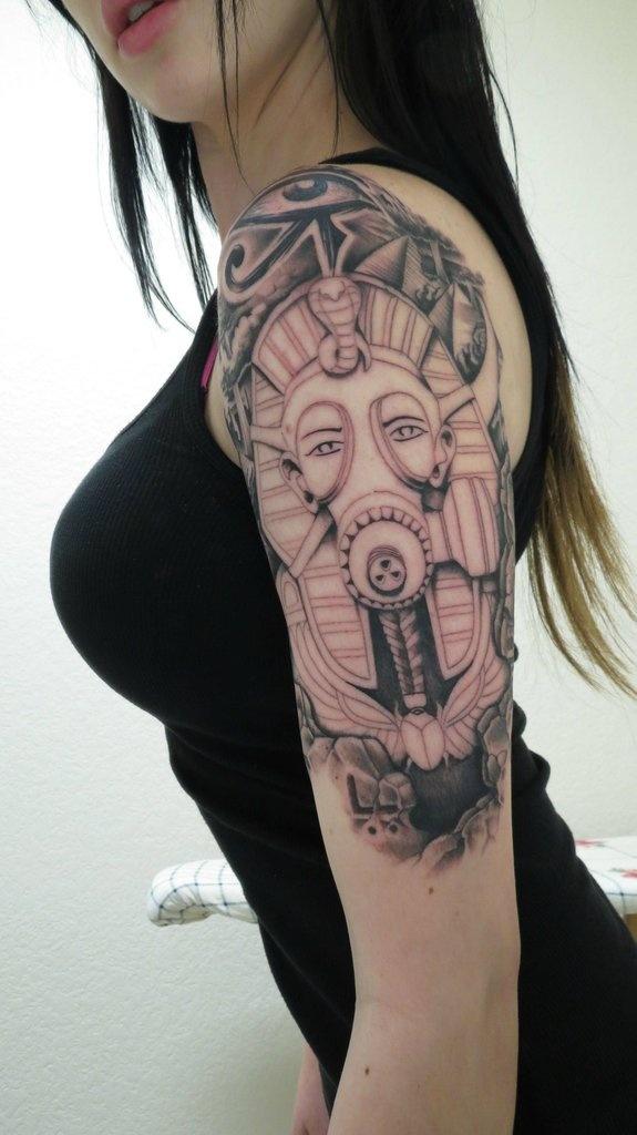 Women 39 s shoulder egyptian eye tattoo tattoomagz for Egyptian tattoos for females
