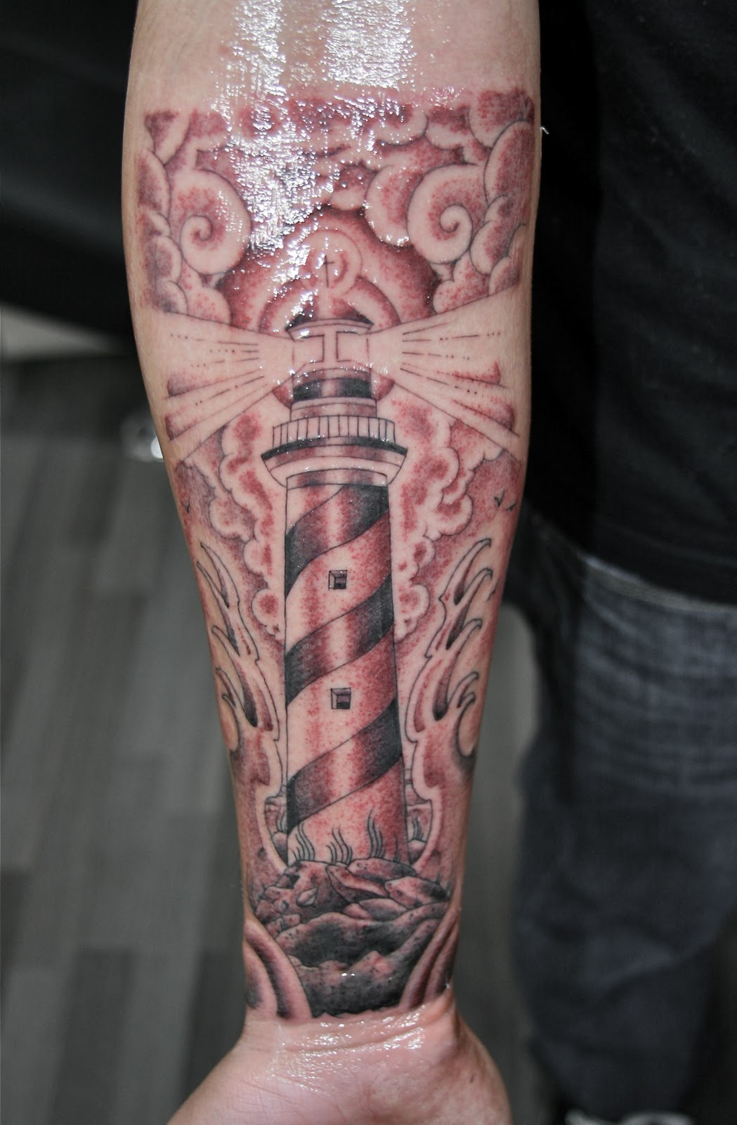 Wonderful lighthouse arm tattoojpg