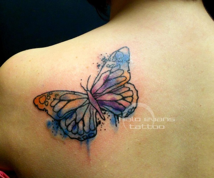 Watercolor Butterfly Tattoos: Wonderful Looking Watercolor Butterfly Tattoo