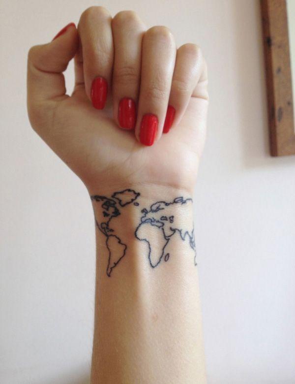 World S Map Wrist Tattoo Tattoomagz