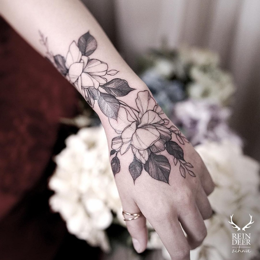 Black Flower Tattoos Wrist: The 81 Most Gorgeous Blackwork Flower Tattoos
