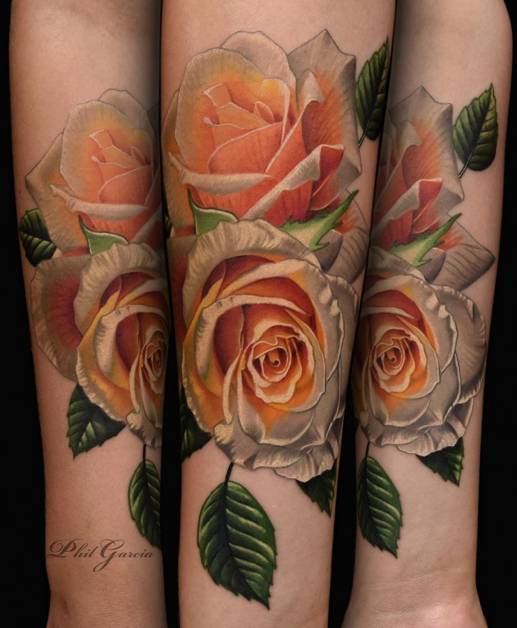yellow-and-orange-rose-tattoo-by-phil-garcia