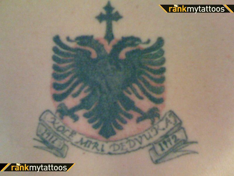Albanian Eagle Eagle Tattoo with Cross and Band