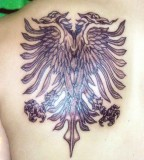 Albanian Two Headed Eagle Demon Face And A Female Spawn
