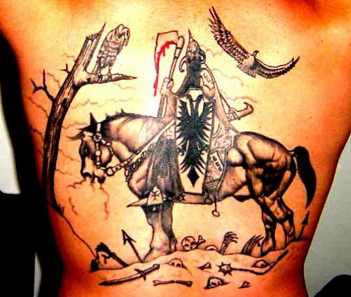 dashing albanian eagle tattoos with knight horse riding black and white. Black Bedroom Furniture Sets. Home Design Ideas
