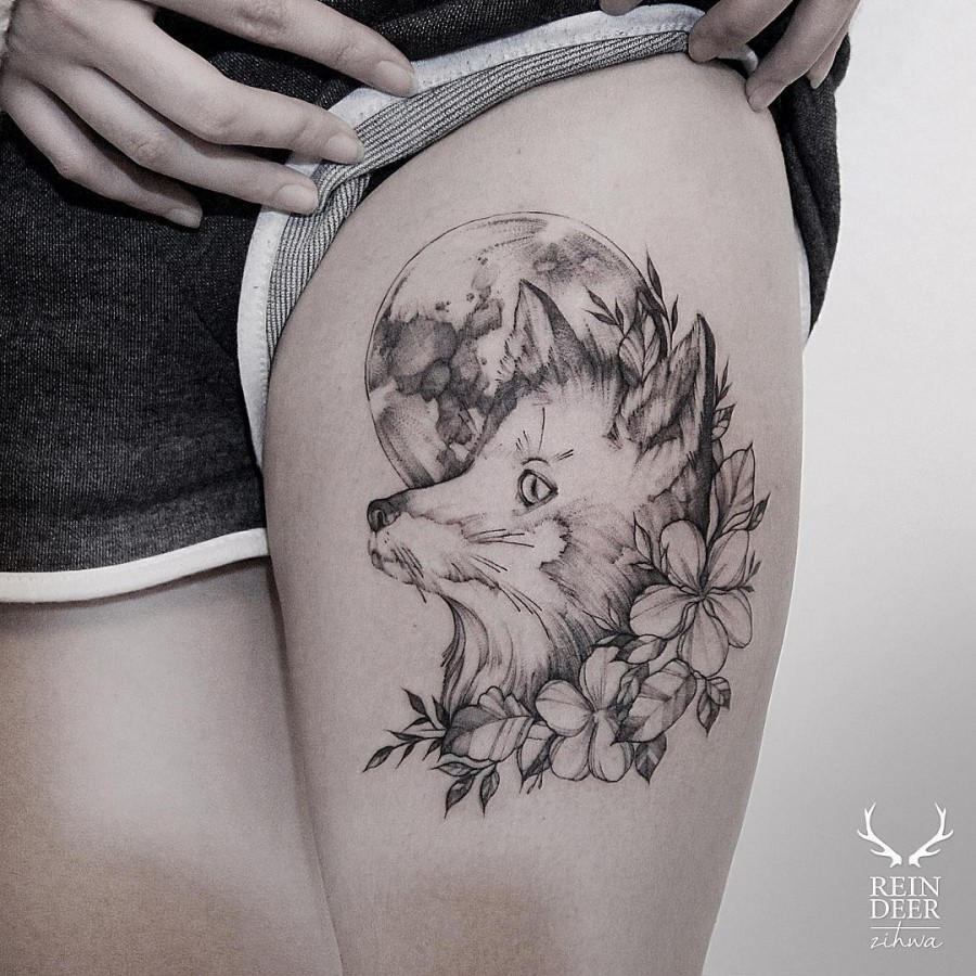 amazing-fox-and-moon-flower-tattoo