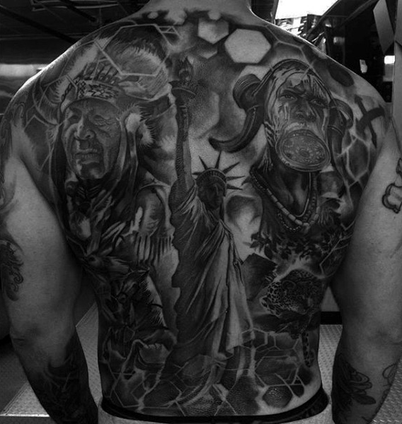 american history full back tattoos for men