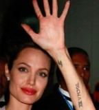 Angelina Jolie Tattoos Images in Left Hand