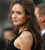 Celebrity Angelina Jolie With Her Nice Tattoos