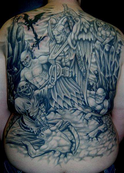 Angel And Demon Tattoos Full Body on Back - TattooMagz