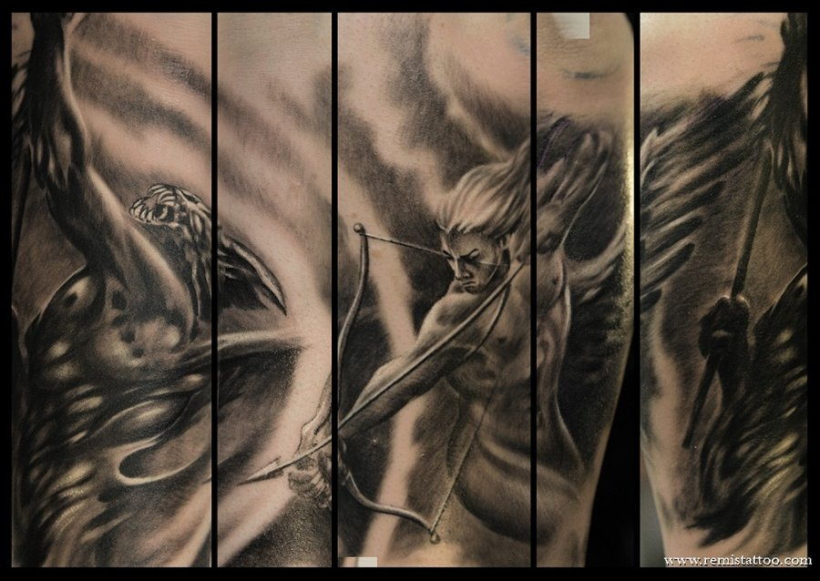 angel arrow vs demon sleeve tattoo images. Black Bedroom Furniture Sets. Home Design Ideas