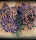Purple Aster Flower Tattoo Design for Women
