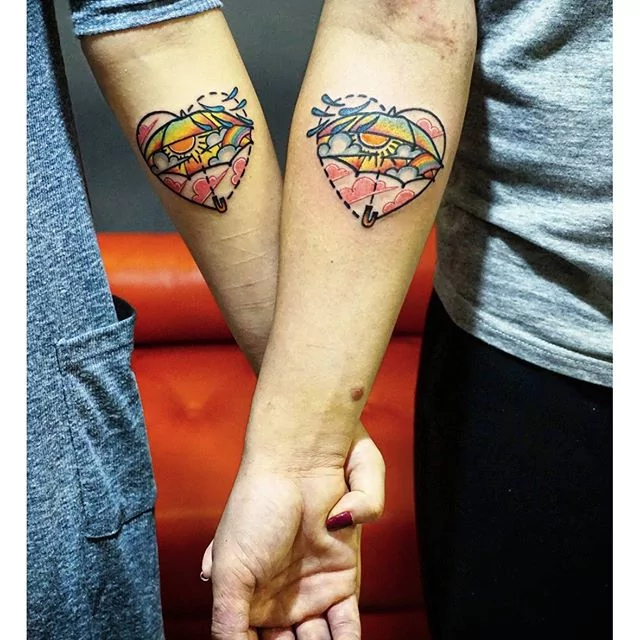 awesome watercolor couple tattoo