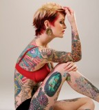 Cool Full Tattoo On Girl Photo