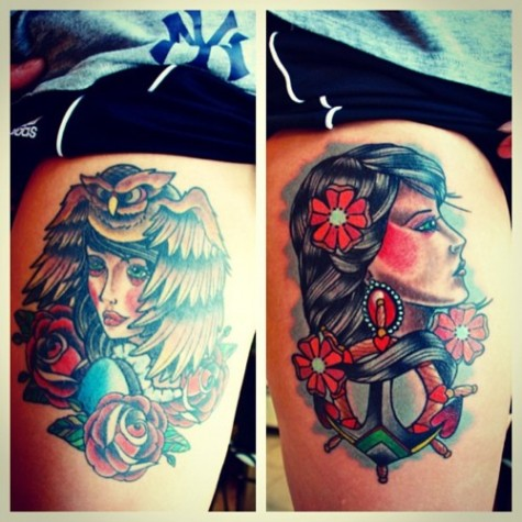 Left thigh tattooed back in 2013 and right thigh tattoomagz for Tattoos on back of thighs