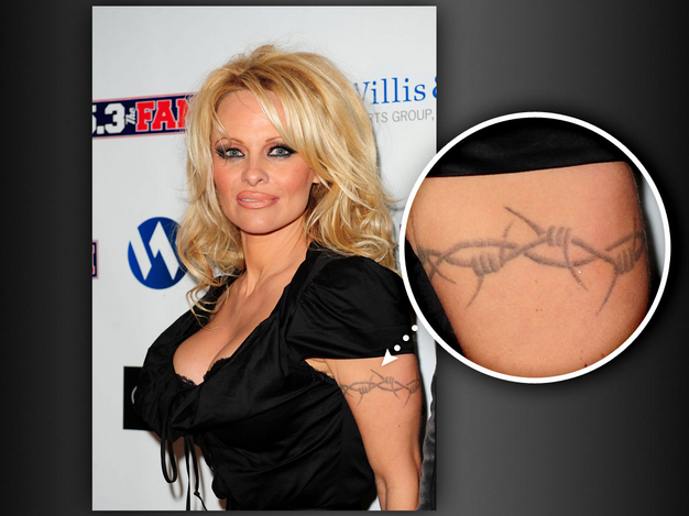 1ee37f9ab86f6 Pamela Anderson Sleeve Barb Wire Tattoo - | TattooMagz › Tattoo ...