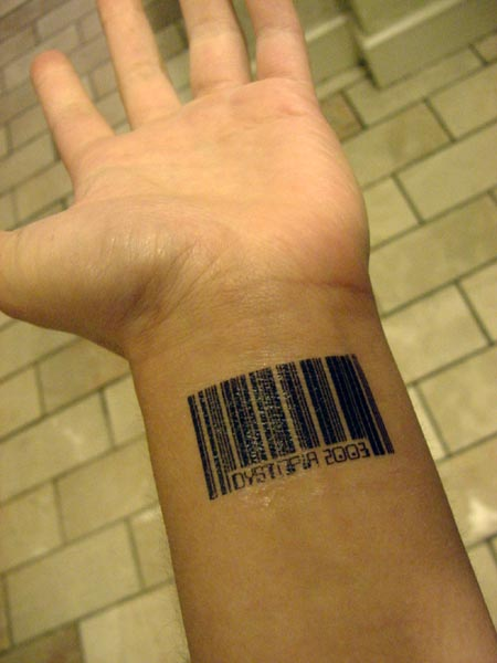 exotic hand barcode tattoo