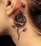 Black Rose Behind The Ear Tattoos