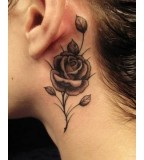 Rose Vine Behind The Ear Tattoos