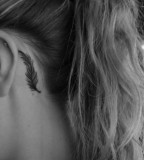 Black and White Feather Tattoos Behind Ear