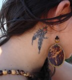 Exotic Feather Tattoos Behind The Ear