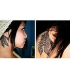 Simple Feather Tattoo Behind Ear For Girls