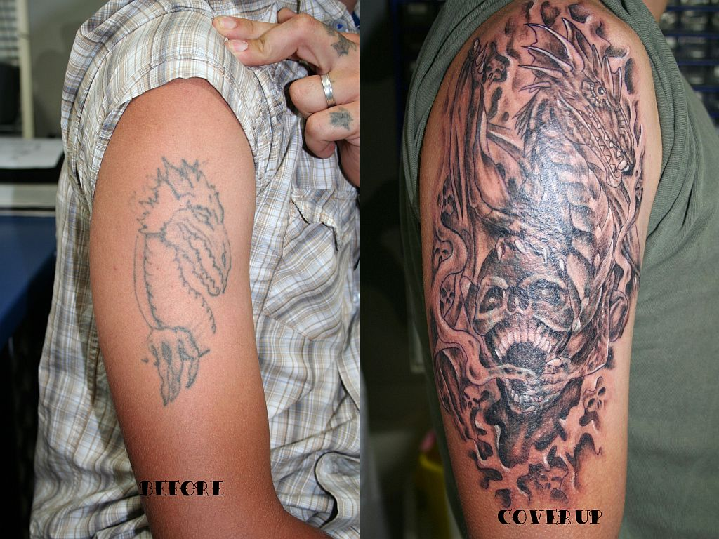 Dragon skull cover up tattoo images gallery tattoomagz for Best cover up tattoo artist