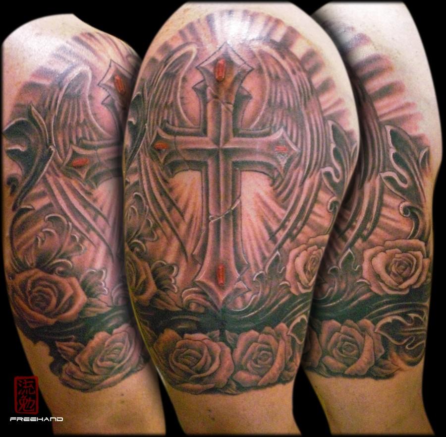 cross armband eddie loven cover up tattoo tattoomagz. Black Bedroom Furniture Sets. Home Design Ideas