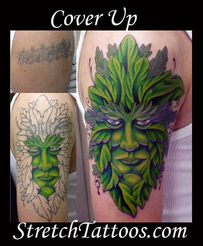 tattoos coverup tattoos green man cover up tattoomagz. Black Bedroom Furniture Sets. Home Design Ideas