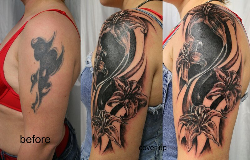 Tribal cover up tat flowers before and after tattoomagz for Best cover up tattoo artist