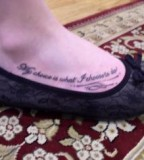Great Qoute Tattoo on Foot for Women