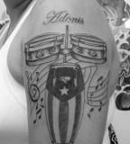 Stunning puerto rican flag king cobra tattoo on men lower for White heritage tattoos